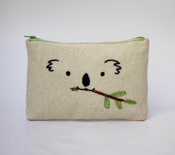 Makeup bag / koala hand embroidered / bridesmaid gift / minimalist line drawing…
