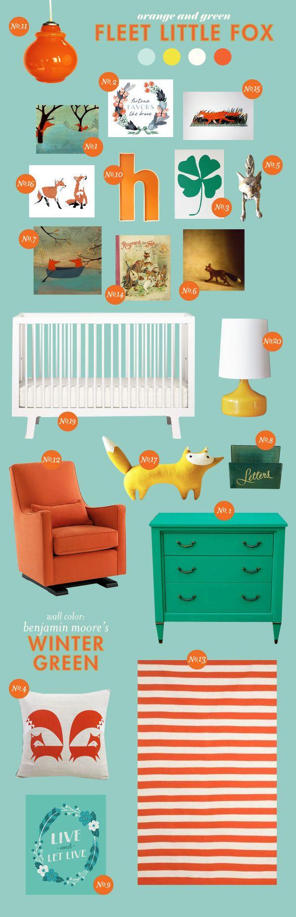 fleet fox nursery: Nurseries Inspiration, Foxes Theme, Boys Nurseries, Foxes Nurseries, Inspiration Boards, Colors Schemes, Baby Rooms, Nurseries Ideas, Baby Nurseries