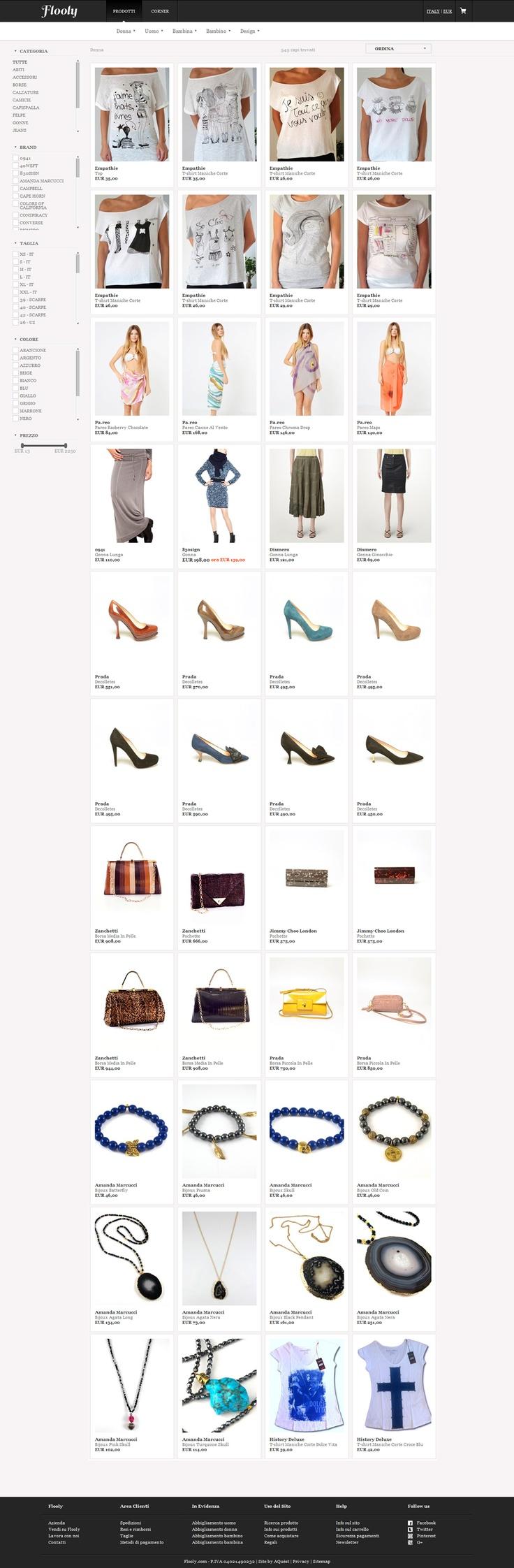 Il catalogo dell'aggregatore visto da un dispositivo di medie dimensioni. Il web design è caratterizzato da una combinazione grafica accattivante ed elegante al tempo stesso, grazie anche ai colori utilizzati. I filtri di ricerca sono immediatamente disponibili all'utente.