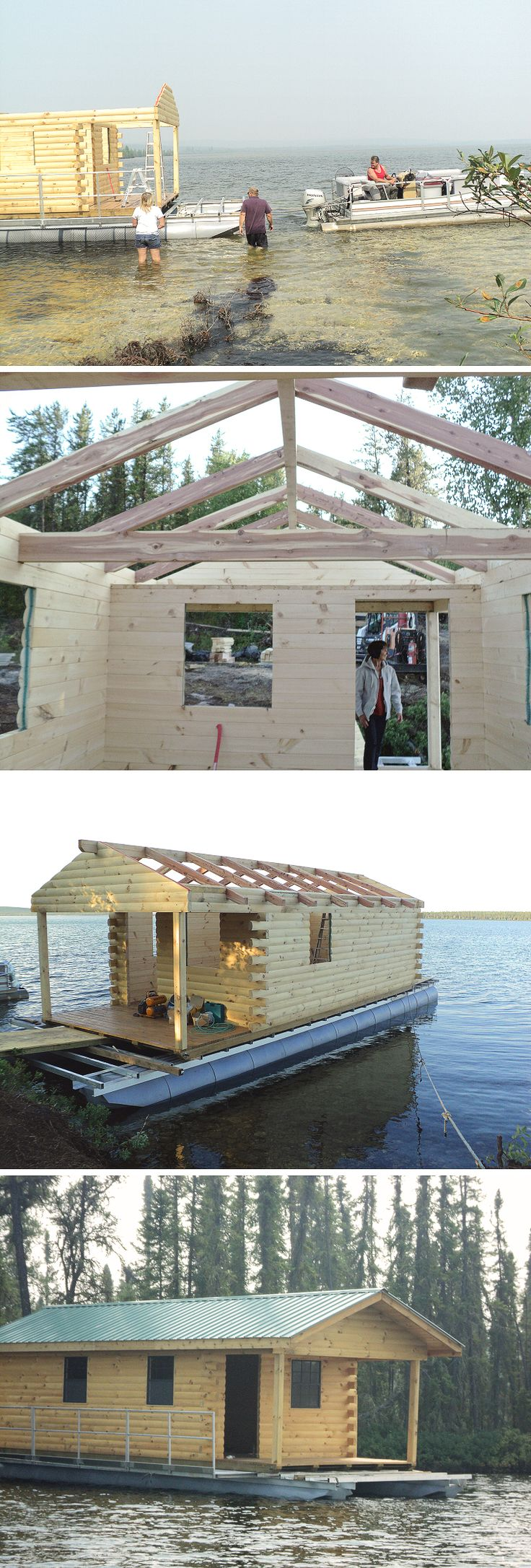 One of two 12x30 Hunter cabin kits we shipped to Bonnyville, Alberta...where they were assembled on pontoons!
