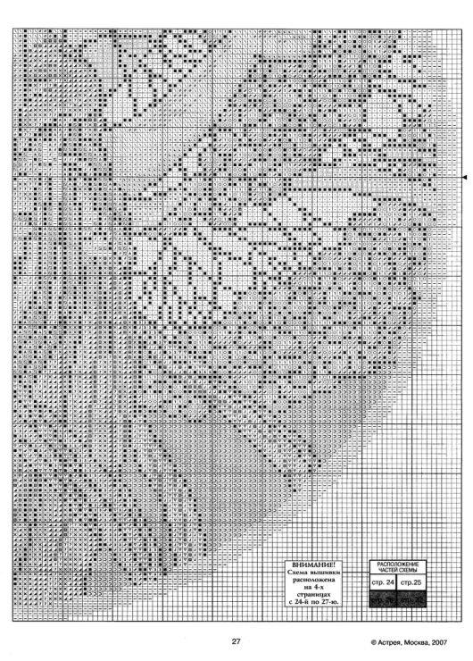 """Borduurpatroon Kruissteek """"De Maanden"""" van Alfons Mucha *Cross Stitch Pattern """"The Months"""" ~april 5/5~"""