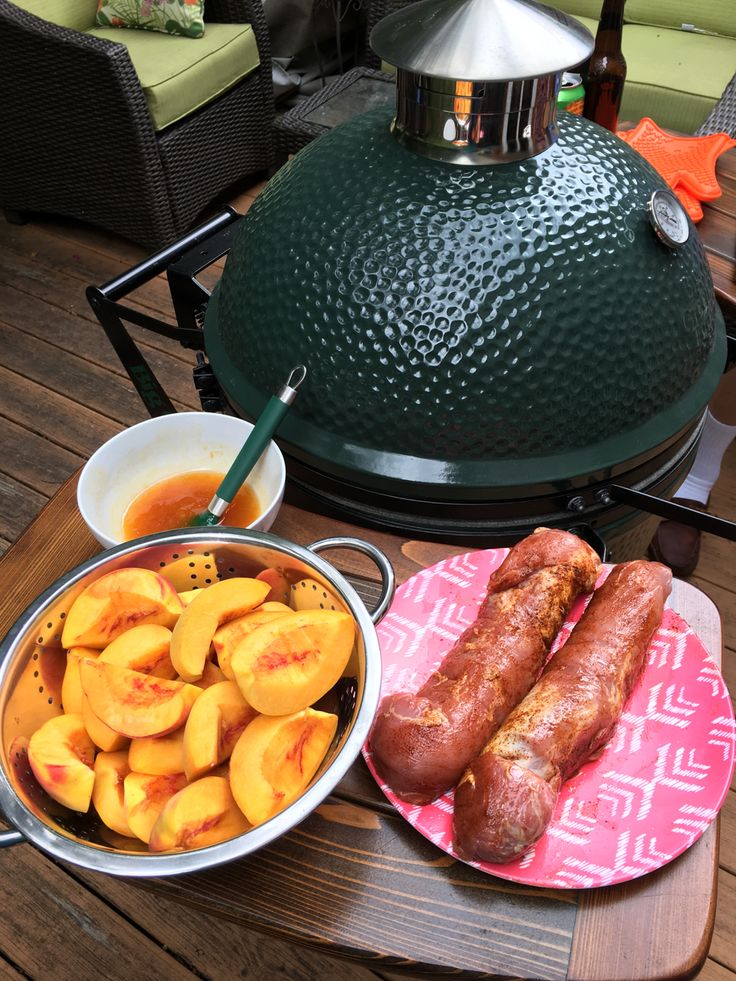 Grilling Bourbon Peach Pork Tenderloin on The Big Green Egg