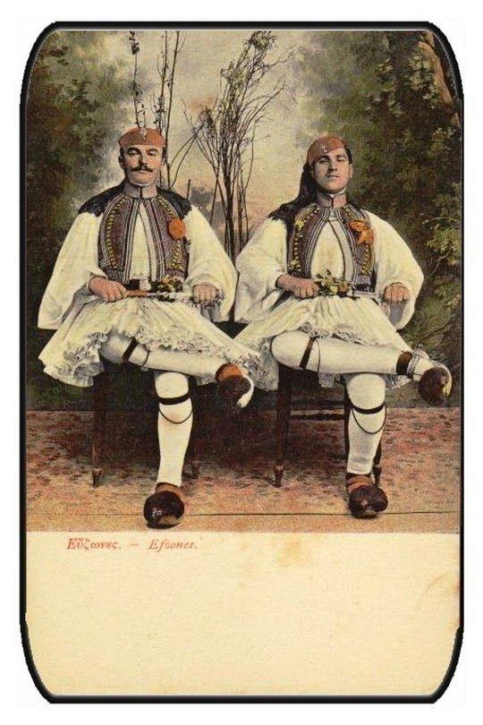 Evzones wearing the traditional Fustanella and tsaroúchia (type of shoe) Εύζωνες με φουστανέλα και τσαρούχια με κορδέλα !