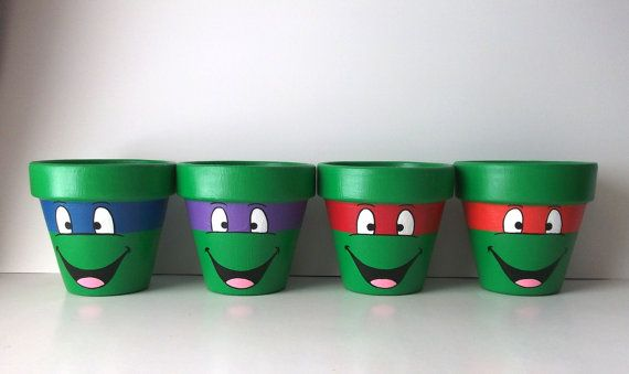 TMNT Ninja Turtles Painted Flower Pot Set of 4 by GingerPots
