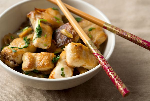 Vietnamese Crispy Fish with Cilantro Recipe Main Dishes with whitefish, salt, peanut oil, onions, ginger, sugar, jalapeno chilies, fish sauce, water, chopped cilantro, lime