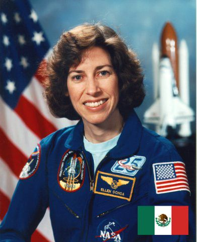 Ellen Ochoa (born 1958. Los Angeles, CA)  Ochoa became the first Hispanic woman in space aboard the space shuttle Discovery in 1993. She is also an inventor and pioneer of spacecraft technology.