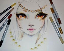 Angelic Ahri Portrait by Lighane