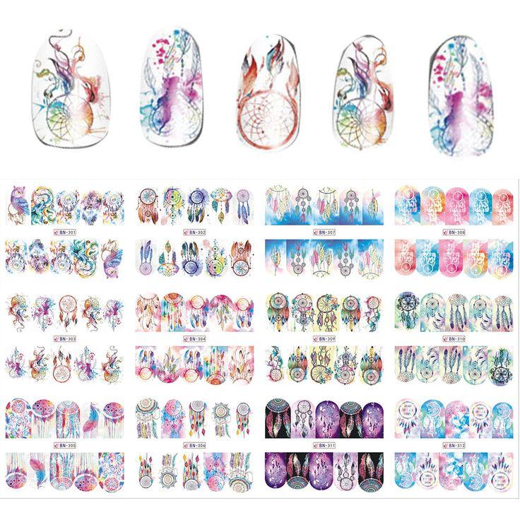 New 12 Sheets/Lot  Mix Owl Dream Catcher Nail Art Water Transfer Decal Sticker For Nail Art Tattoo BN301-312
