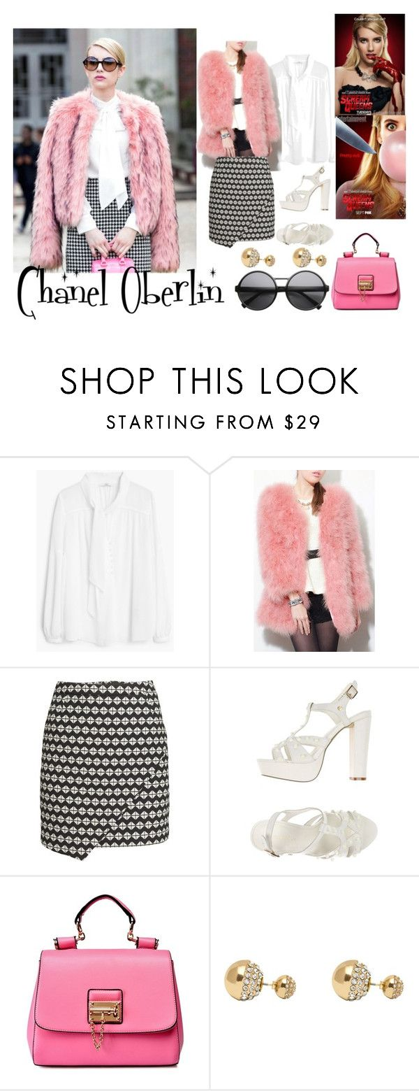 """Halloween Costume: Chanel Oberlin From Scream Queens."" by xoxo-rileyy ❤ liked on Polyvore featuring MANGO, H&M, Silvian Heach and Adele Marie"