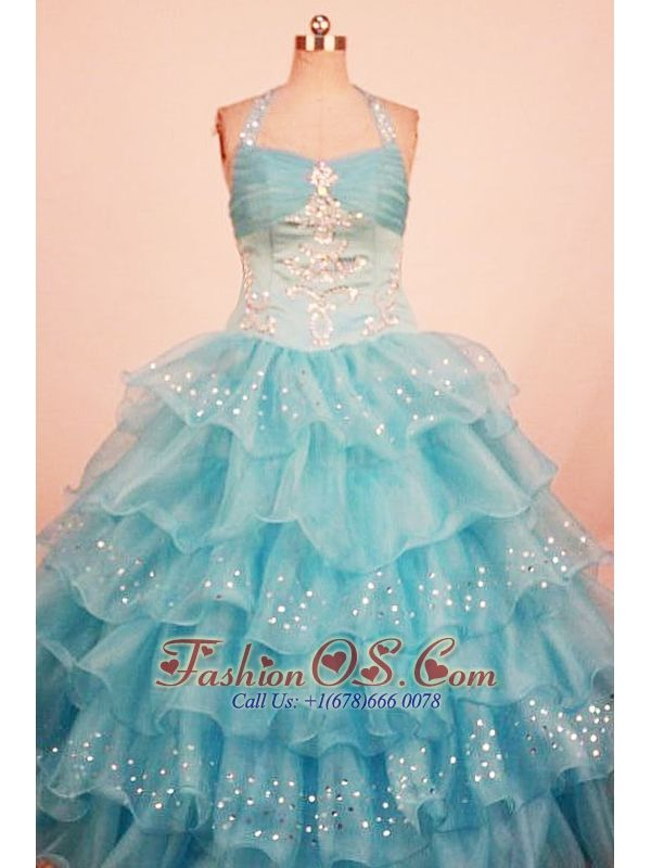 Lovely Ball Gown Little Girl Pageant Dress Ruffled Layered Halter With Floor-Length Aqua Blue Organza    http://www.fashionos.com  http://www.facebook.com/quinceaneradress.fashionos.us   Sweety ball gown with halter-top neck encrusted with crystals. Adorned with beads and sequins all around, the bodice features a flattering shape. Beaded ruffles on the full skirt discover your inside showy and sparky, with lace-up tie back for great fit.