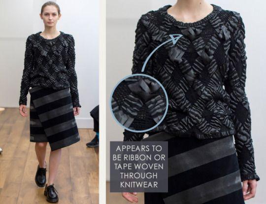 Smocking, Macramé and Modular Patterns at Noir Kei Ninomiya | The Cutting Class. noir kei ninomiya, AW15, Paris, Image 13. Appears to be ribbon or tape woven through knitwear.