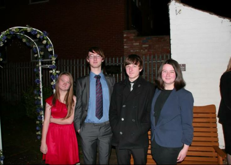 L-R: My sister Jess, brothers David and Scott and myself at my Dad's wedding the other week.