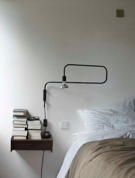 love the sconce/wall light / reminds me of Prouvé  (less expensive) cord lamp by designer Brendan Ravenhill)