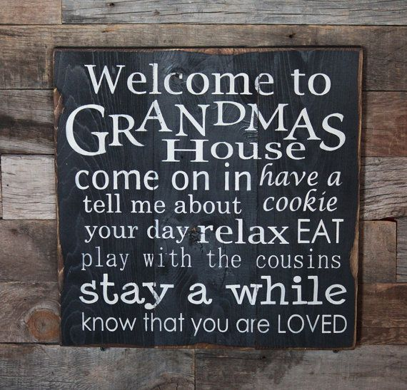 Large Wood Sign  Welcome to Grandmas House  by dustinshelves