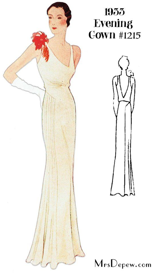 Vintage Sewing Pattern 1930s Evening Gown In Any Size Plus Size Included Depew 1215 Instant Download Evening Gown Pattern Gown Pattern Vintage Dress Patterns
