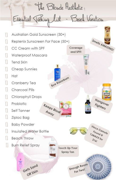 The Best Beach Packing List ever! All the esstials you will need for the beach. De-bloat tips, suncreen for the beach, CC Cream with SPF for the beach, Hangover reducers, the best smelling sunscreen, get rid of razorburn. This packing list has it all!