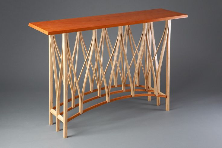 Dreamcatcher Hall Table wood console for entry or living room custom made by Seth Rolland fine woodworking