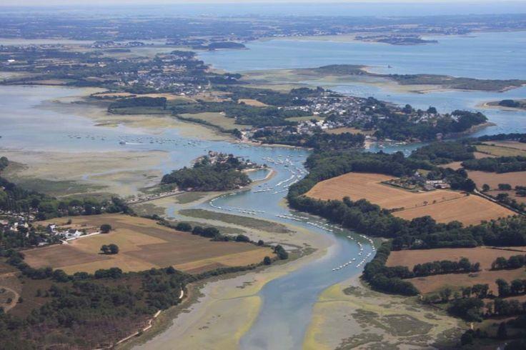 Vue aérienne rivière de Vannes,  Conleau