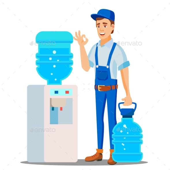 Water Delivery Service Man Vector Water Delivery Service Water Delivery Man Vector
