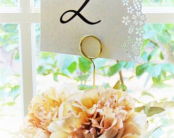 TABLE NUMBER HOLDERS Holder Wedding Gold Tall Wire Photo Metal Card Holders Picture Floral Picks No Base Cake Topper Stands Clip Sign Copper