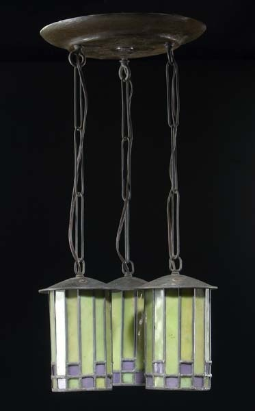 ROYCROFT Ceiling Fixture Designed By Dard Hunter With Three Cylindrical  Leaded Glass Drops In Bright Green