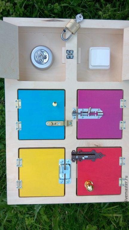 Купить Шкафчик развивающий с замочками - разноцветный, доска развивающая, шкафчик развивающий, мелкая моторика, для малышей