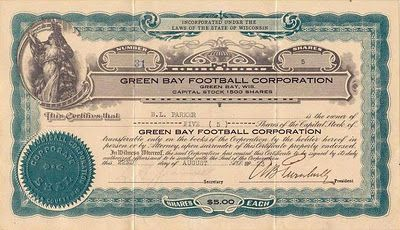 Green Bay Packers - 1923 Stock Certificate.