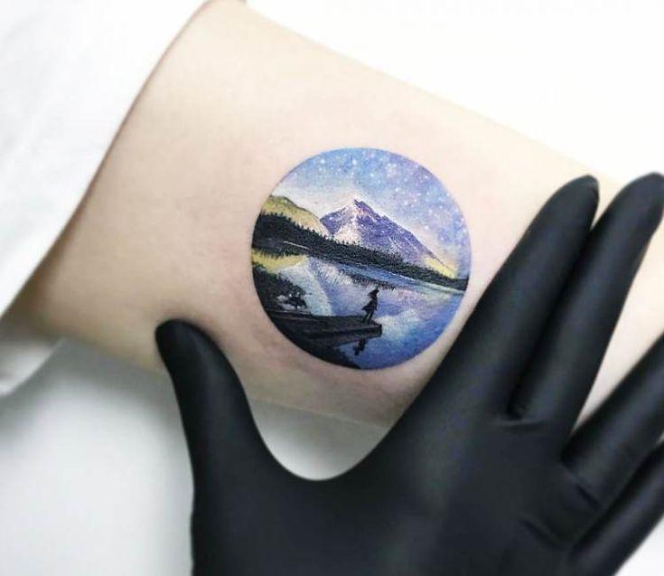 Mountain and Lake tattoo by Eva Krbdk