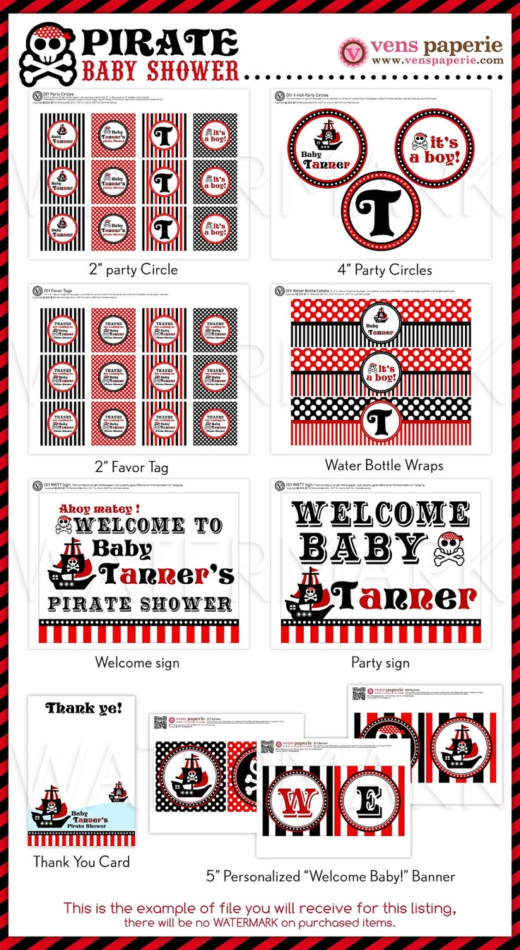Red Pirate Baby Shower Package Personalized FULL Collection Set - PRINTABLE DIY - BS831CA1x. $35.00, via Etsy.