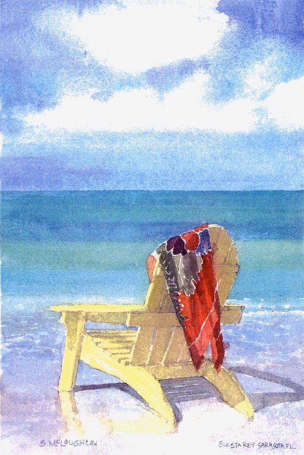 Beach Chair Beach watercolor, Beach art, Painting