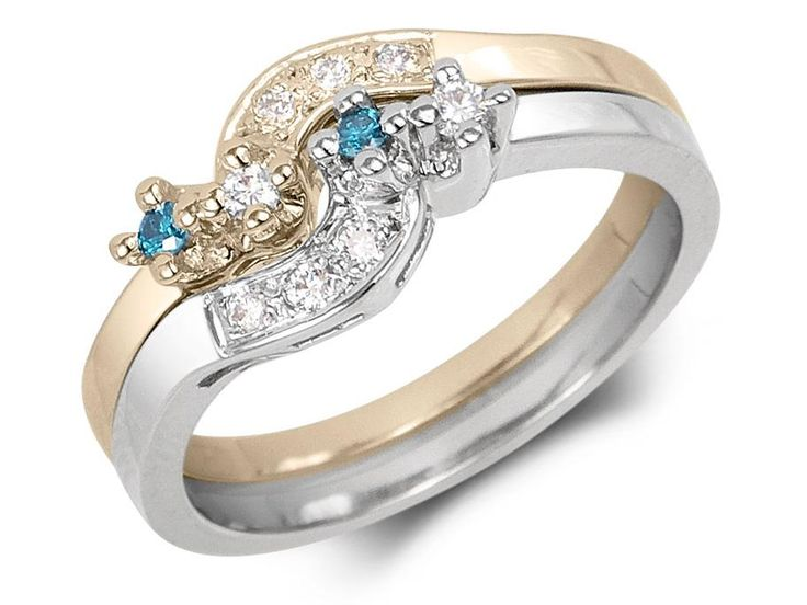 2 ring design set with 4-prong settings and embedded diamonds on band. Total diamond weight: .14ctGold: 14 karat