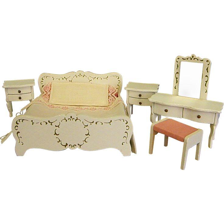 Beautiful Vintage Lundby us Dollhouse Painted Wood Bedroom Set