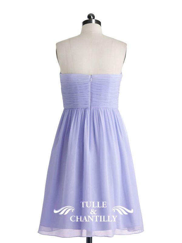Sweet Strapless Sweetheart Short Pastel Lilac Bridesmaid Gown 2