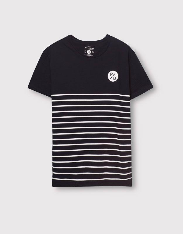 Pull&Bear - homme - t-shirts - t-shirt panneaux à rayures - bleu marine - 05239548-V2016