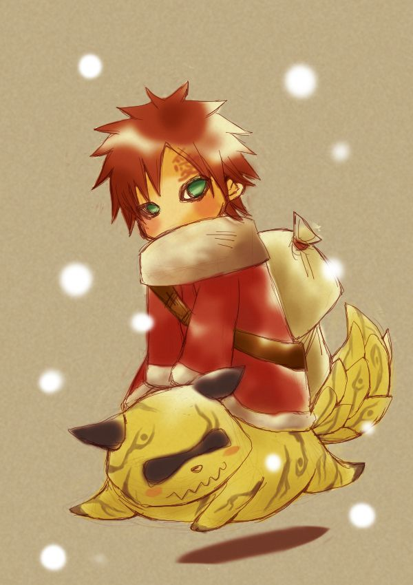 Naruto : shukaku and Gaara... He reminds me of Santa Claus with the bag in the back.