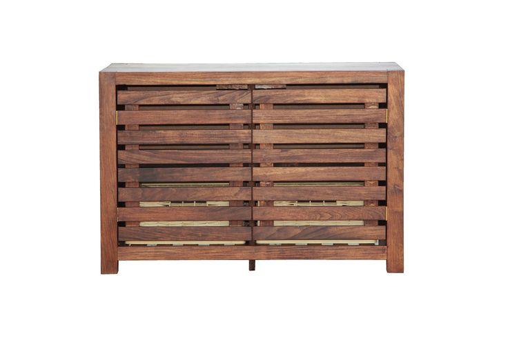 A custom slatted door sideboard/cabinet