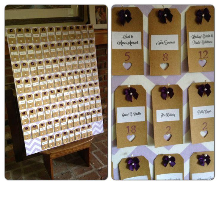 Hobby Lobby Wedding Ideas: Name Tag Display For Purple And Green Wedding. Kraft Tags