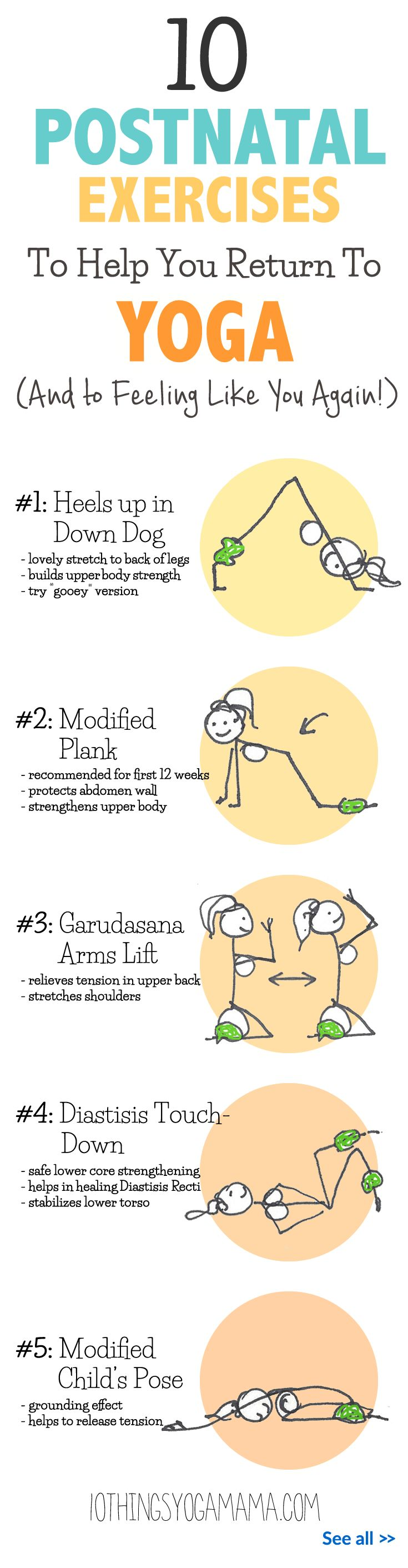 When ready, it feels so good to finally start moving again after months of child-bearing. Here are 10 gentle and safe postnatal yoga exercises that I always seemed to come back to and that helped me along during those first few weeks after birth. 10 Postnatal Exercises To Help You Return To Yoga (And to Feeling Like You Again!)