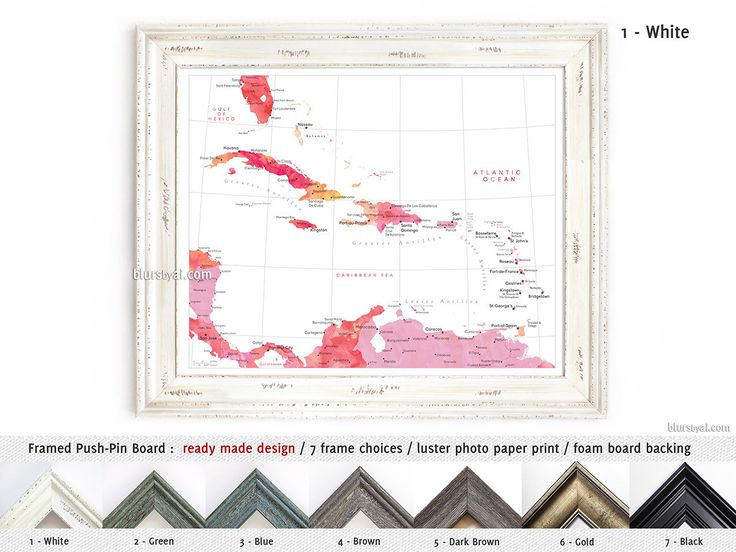 Elite framed push pin board of the Caribbean Islands in hot pink, pink, yellow and orange #AnniversaryGift #caribe #FramedCorkboard #femenine #HandmadeFramedPushPinBoard #forher #CorkBoardBacking #AnniversaryGiftIdea #FramedPushPinBoard #CustomDesignedPrint