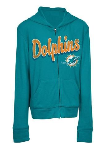 8dc23a9a Girls Miami Dolphins Hoodie Full Zip Brushed Knit Jacket | Sports ...