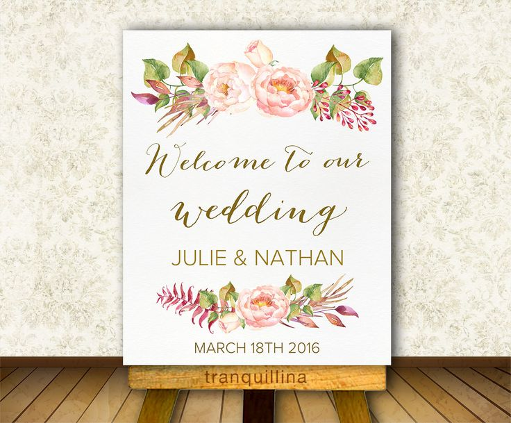 Printable Welcome Sign, Wedding Welcome Sign, Custom Wedding Sign, Floral Welcome Sign, Bridal Shower Welcome Sign, Welcome Poster Printable - pinned by pin4etsy.com