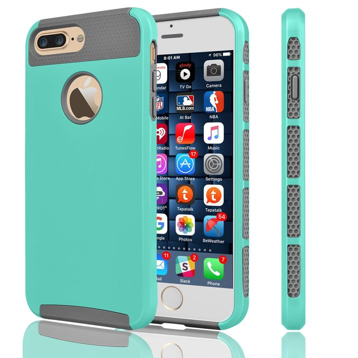 iPhone 7 Plus Case, Tekcoo™ [Tduke Series] iPhone 7 Plus (5.5 INCH) Case Shock Absorbing Hard Hybrid Defender Glossy Cover [Scratch Proof] Plastic Shell + TPU Rubber Inner [Turquoise/Grey]. iPhone 7 Plus Case,Tekcoo Tduke Series Dual Layer Armor Rugged Apple iPhone 7 Plus Case ,Perfectly Fit iPhone 7 Plus / iPohne 6 Plus / iPhone 6S Plus AT&T Sprint Verizon T-mobile International unlocked Cricket U.S. Cellular Straight Talk MetroPCS All Carriers. iPhone 7 Plus Cover,Reinforced Corner...