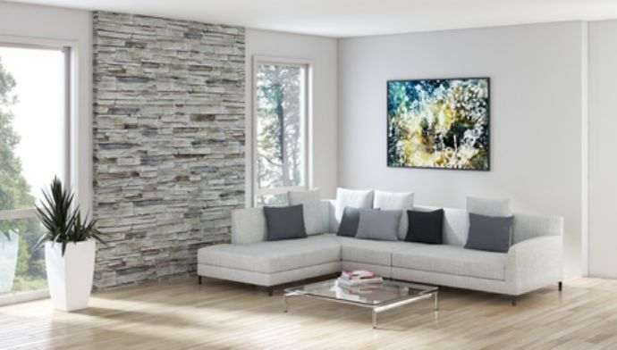 Rivestimenti in pietra per interni salotto luminoso | Casa ...