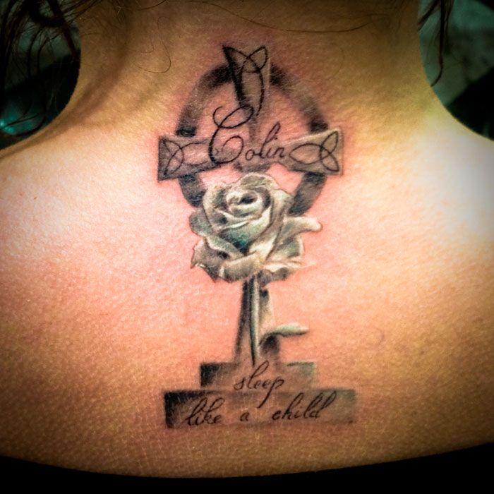 Memorial tattoos for women memorial celtic cross rose for Girly cross tattoo