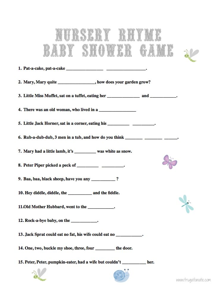 Having fun and entertaining games is a great way to host a baby shower that your guests will not forget. Print out our FREE nursery rhyme baby shower game.
