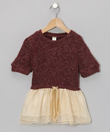 Take a look at this Maroon Tulle Sweater Sparkle Dress - Toddler & Girls by Dino Bebe on #zulily today!