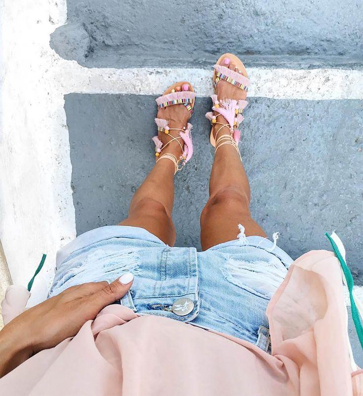 Greek Pom Pom Sandals