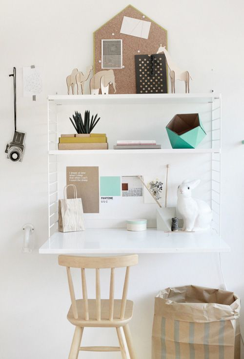 fold-down desk-could use this as a make-up table/manicure station with storage of all the nail polish and make-up inside and closed away when the desk is folded up!