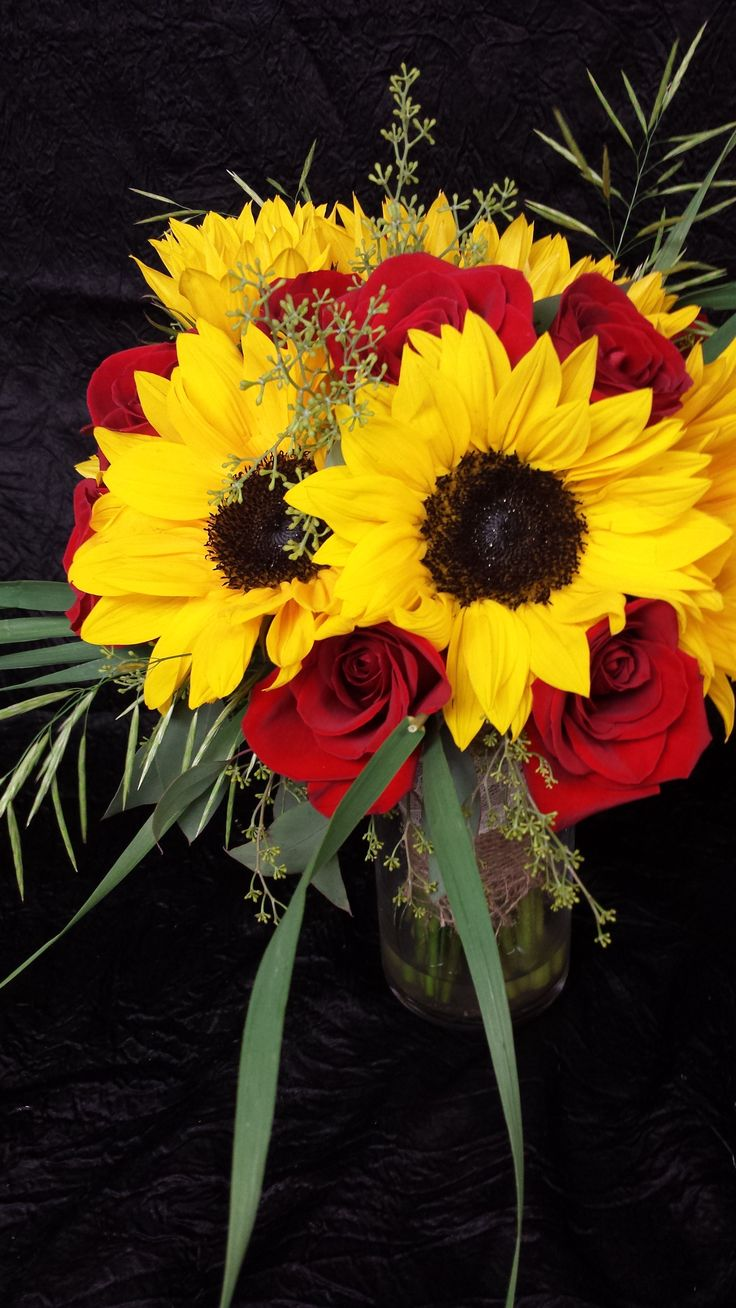 Sunflowers and red rose brides bouquet