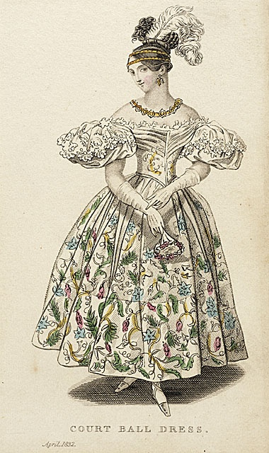 """1832 """"Court Ball Dress"""" Ladies Pocket Magazine fashion plate from LACMA Collections Online - more can be seen at http://collectionsonline.lacma.org/mwebcgi/mweb.exe?request=jump;dtype=d;startat=625"""